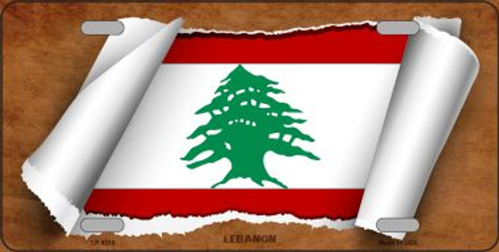 Lebanon Flag Scroll Wholesale Metal Novelty License Plate