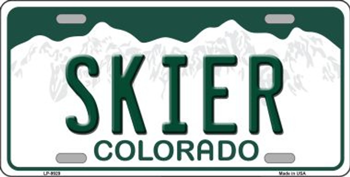 Skier Colorado Background Wholesale Metal Novelty License Plate