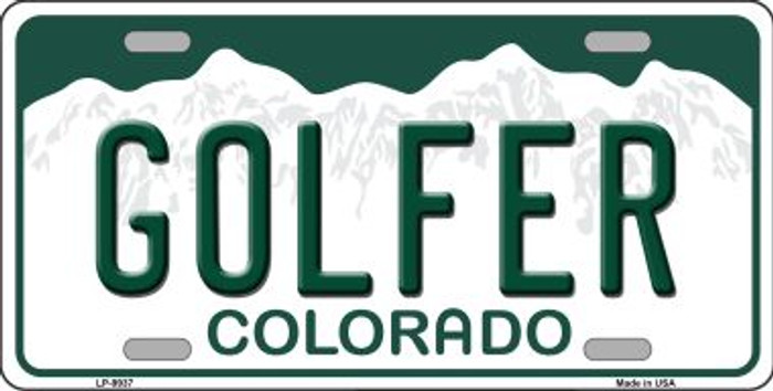 Golfer Colorado Background Wholesale Metal Novelty License Plate