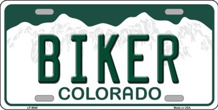 Biker Colorado Background Wholesale Metal Novelty License Plate