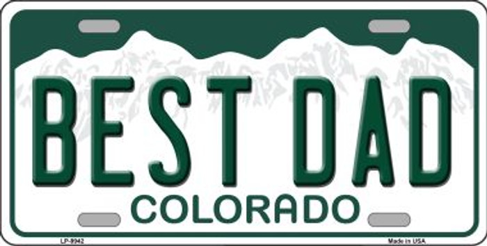 Best Dad Colorado Background Wholesale Metal Novelty License Plate