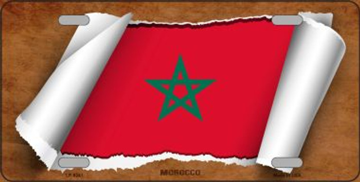 Morocco Flag Scroll Wholesale Metal Novelty License Plate
