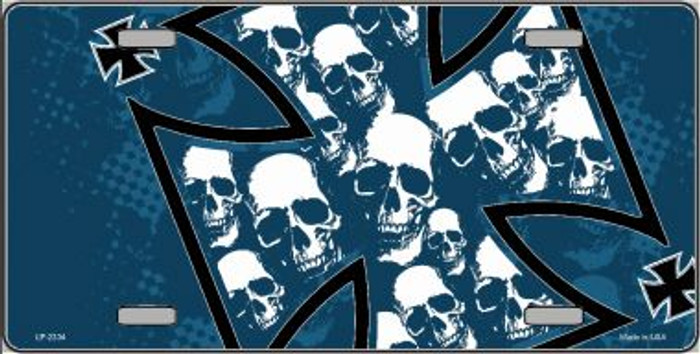 Maltese Cross Skulls Wholesale Metal Novelty License Plate LP-2334