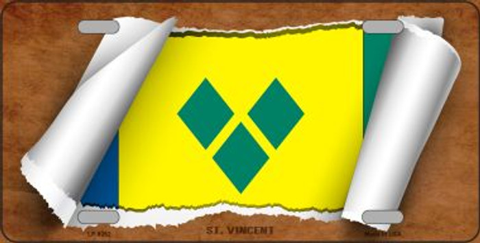 St Vincent Flag Scroll Wholesale Metal Novelty License Plate