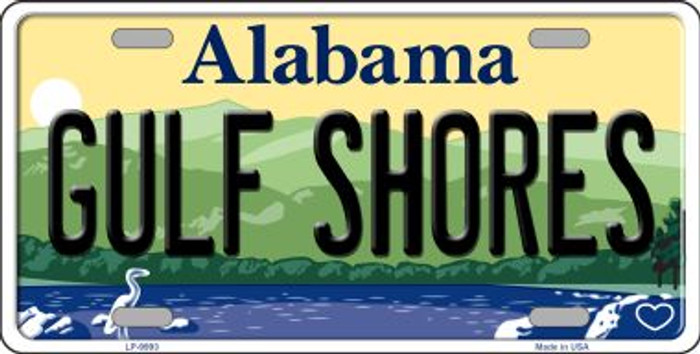 Gulf Shores Alabama Background Wholesale Metal Novelty License Plate