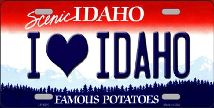 Love Idaho Background Wholesale Metal Novelty License Plate