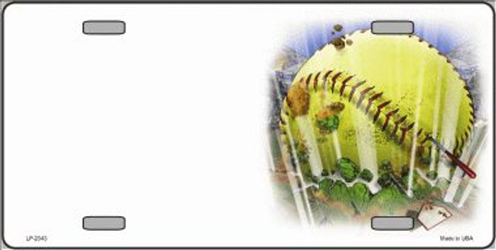 Softball Offset Wholesale Metal Novelty License Plate LP-2343