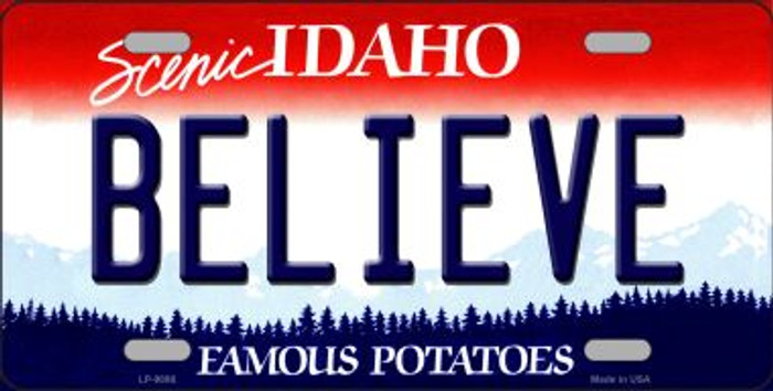 Believe Idaho Background Wholesale Metal Novelty License Plate