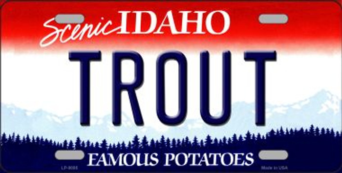 Trout Idaho Background Wholesale Metal Novelty License Plate