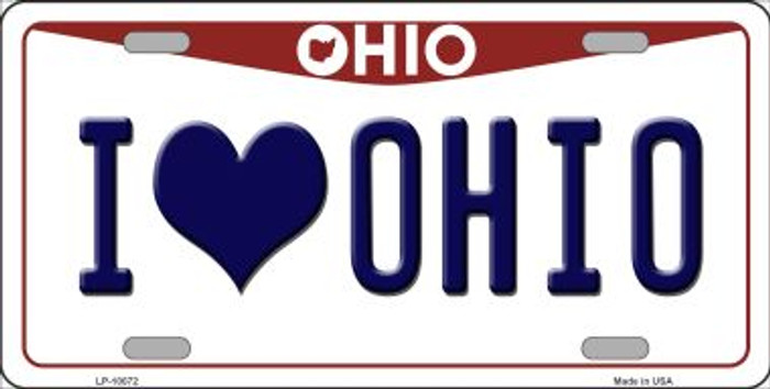 I Love Ohio Background Wholesale Metal Novelty License Plate