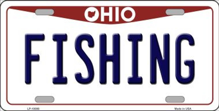 Fishing Ohio Background Wholesale Metal Novelty License Plate
