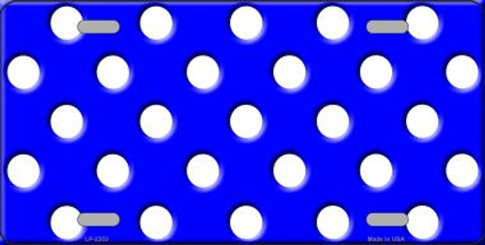 White Polka Dots Royal Blue Background Wholesale Metal Novelty License Plate LP-2353