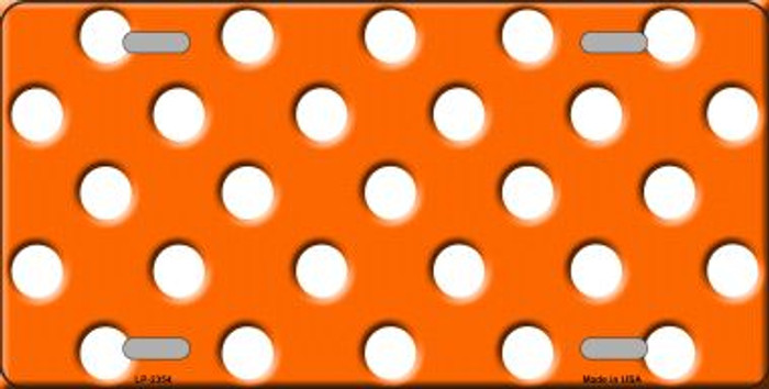 White Polka Dots Orange Background Wholesale Metal Novelty License Plate LP-2354