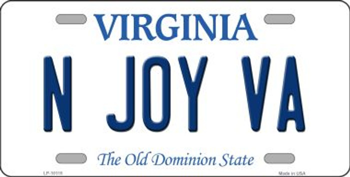 N Joy VA Virginia Background Wholesale Metal Novelty License Plate