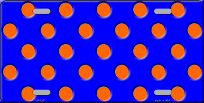 Orange Polka Dots Royal Blue Background Wholesale Metal Novelty License Plate LP-2357
