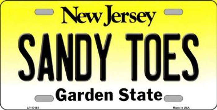 Sandy Toes New Jersey Background Wholesale Metal Novelty License Plate