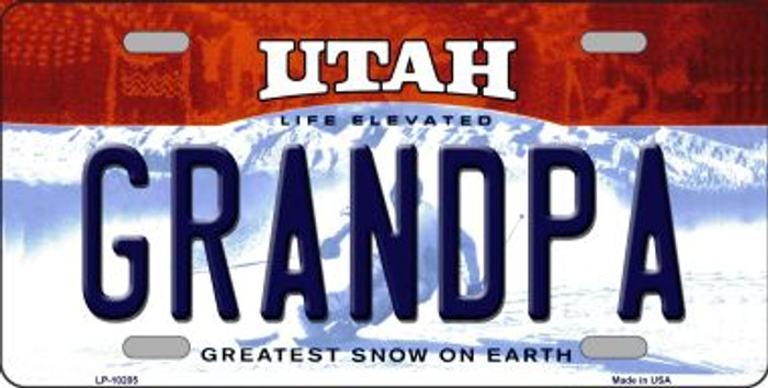 Grandpa Utah Background Wholesale Metal Novelty License Plate