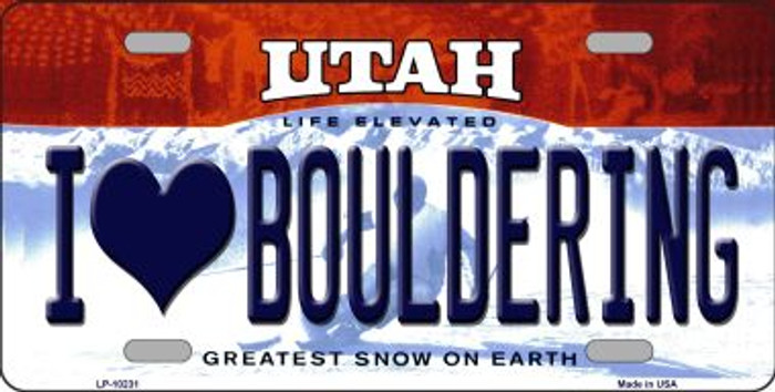 I Love Bouldering Utah Background Wholesale Metal Novelty License Plate