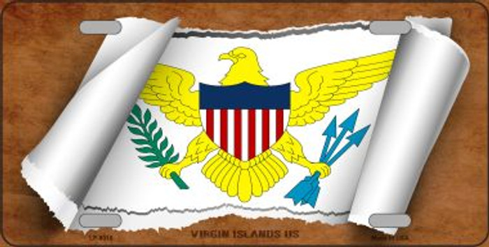 Virgin Islands US Flag Scroll Wholesale Metal Novelty License Plate
