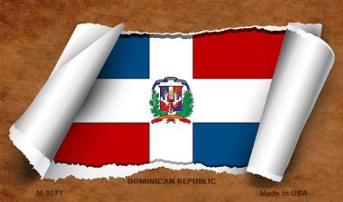 Dominican Republic Flag Scroll Wholesale Novelty Metal Magnet