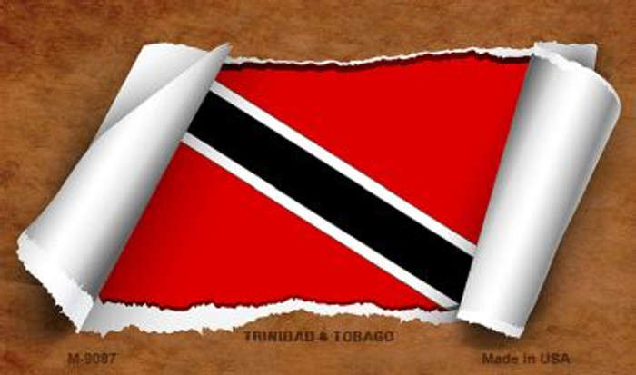 Trinidad & Tobago Flag Scroll Wholesale Novelty Metal Magnet