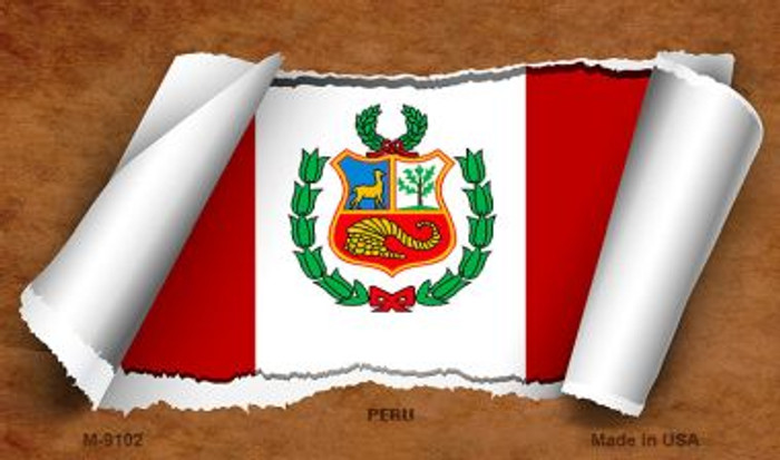 Peru Flag Scroll Wholesale Novelty Metal Magnet