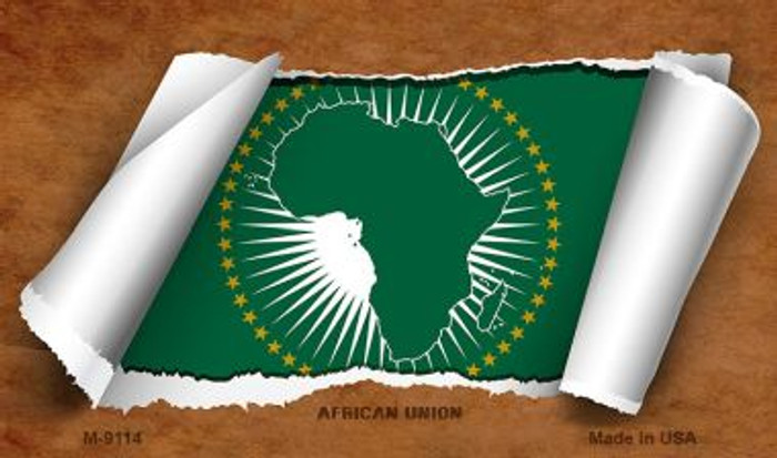 African Union Flag Scroll Wholesale Novelty Metal Magnet