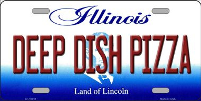 Deep Dish Pizza Illinois Background Wholesale Metal Novelty License Plate