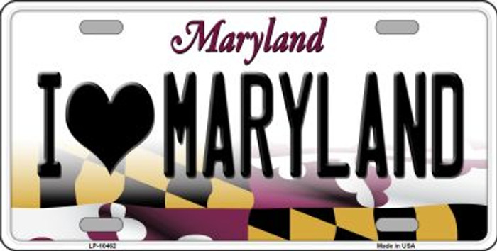 I Love Maryland Background Wholesale Metal Novelty License Plate