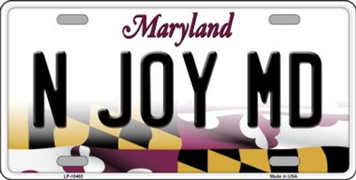 N Joy MD Maryland Background Wholesale Metal Novelty License Plate