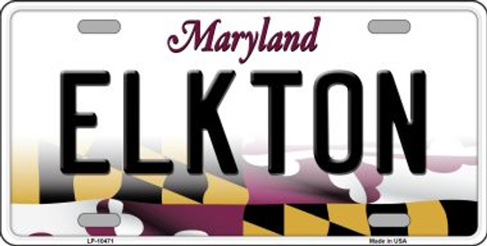 Elkton Maryland Background Wholesale Metal Novelty License Plate