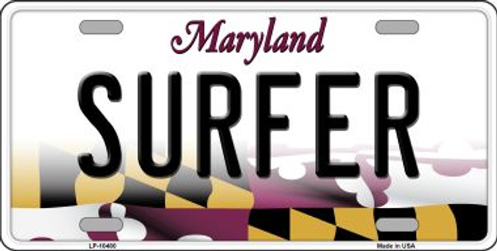 Surfer Maryland Background Wholesale Metal Novelty License Plate