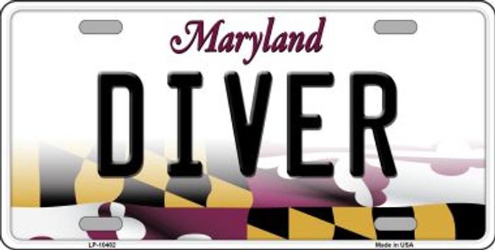Diver Maryland Background Wholesale Metal Novelty License Plate