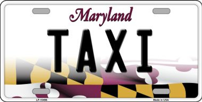 Taxi Maryland Background Wholesale Metal Novelty License Plate