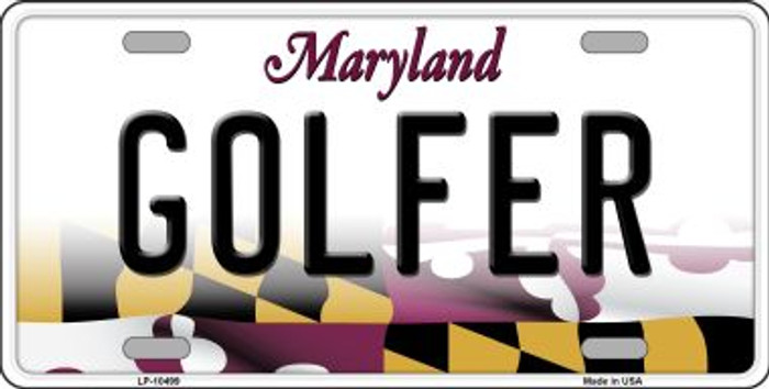 Golfer Maryland Background Wholesale Metal Novelty License Plate