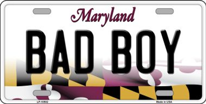 Bad Boy Maryland Background Wholesale Metal Novelty License Plate
