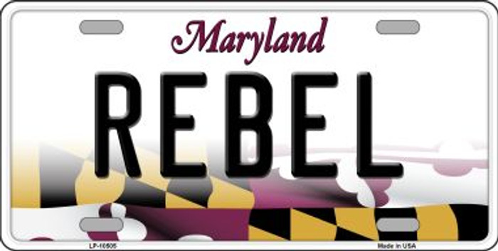 Rebel Maryland Background Wholesale Metal Novelty License Plate