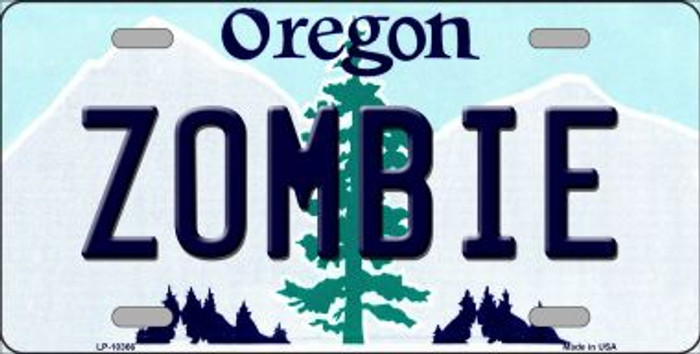 Zombie Oregon Background Wholesale Metal Novelty License Plate