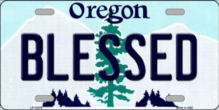 Blessed Oregon Background Wholesale Metal Novelty License Plate