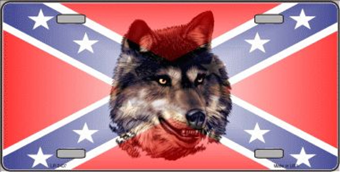 Confederate Flag Wolf Wholesale Metal Novelty License Plate LP-2407