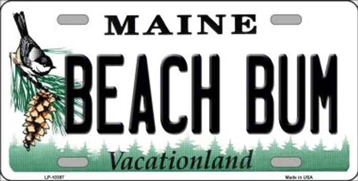 Beach Bum Maine Background Wholesale Metal Novelty License Plate