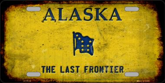 Alaska Rusty Background Novelty Wholesale Metal License Plate