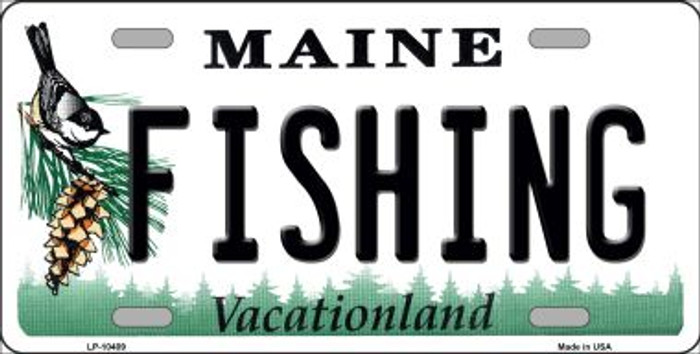 Fishing Maine Background Wholesale Metal Novelty License Plate