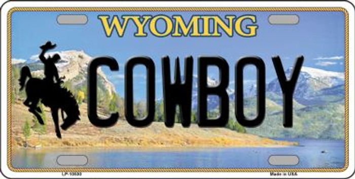 Cowboy Wyoming Background Wholesale Metal Novelty License Plate