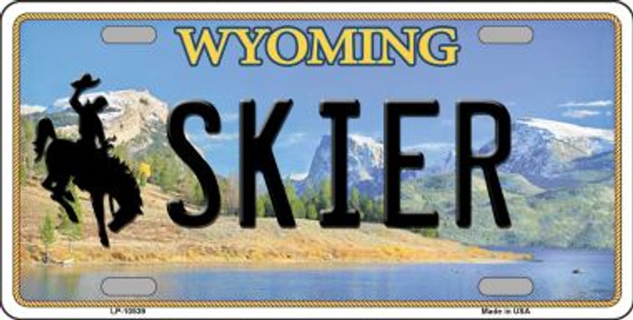 Skier Wyoming Background Wholesale Metal Novelty License Plate
