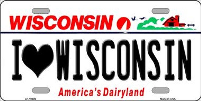 I Love Wisconsin Background Wholesale Metal Novelty License Plate