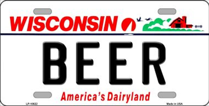 Beer Wisconsin Background Wholesale Metal Novelty License Plate