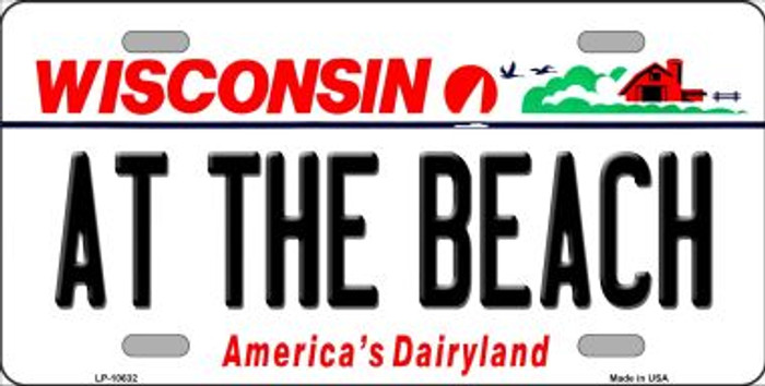 At The Beach Wisconsin Background Wholesale Metal Novelty License Plate