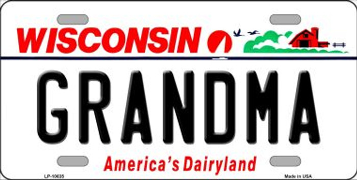 Grandma Wisconsin Background Wholesale Metal Novelty License Plate