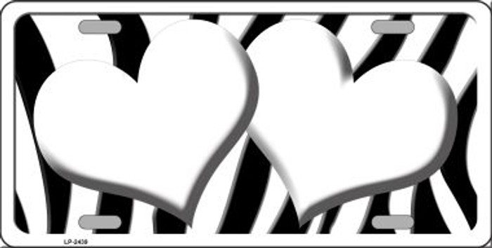 White Black Zebra Red Centered Hearts Wholesale Novelty License Plate LP-2439